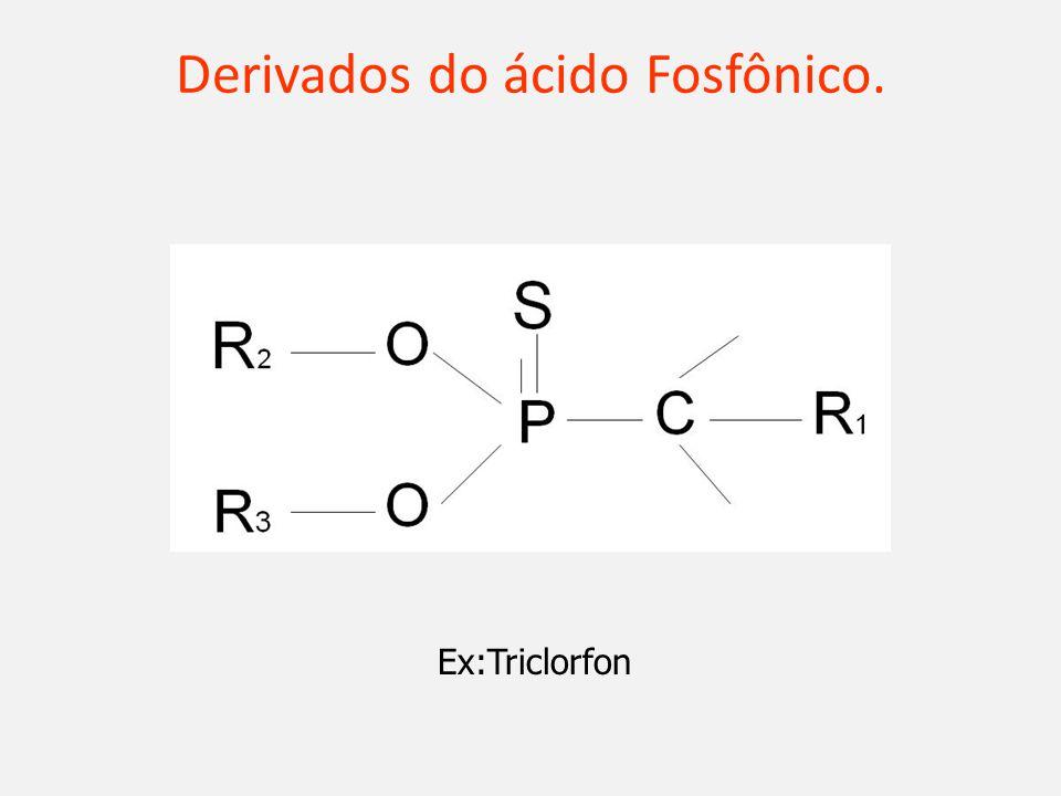 Derivados do ácido Fosfônico. Ex:Triclorfon