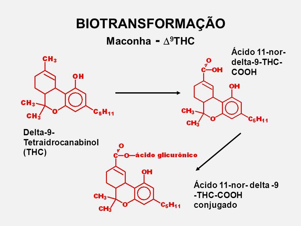 BIOTRANSFORMAÇÃO Maconha - 9 THC Delta-9- Tetraidrocanabinol (THC) Ácido 11-nor- delta-9-THC- COOH Ácido 11-nor- delta -9 -THC-COOH conjugado