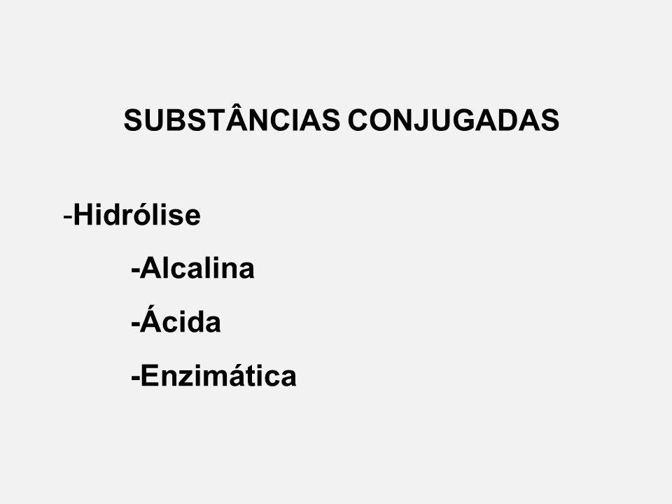 SUBSTÂNCIAS CONJUGADAS -Hidrólise -Alcalina -Ácida -Enzimática
