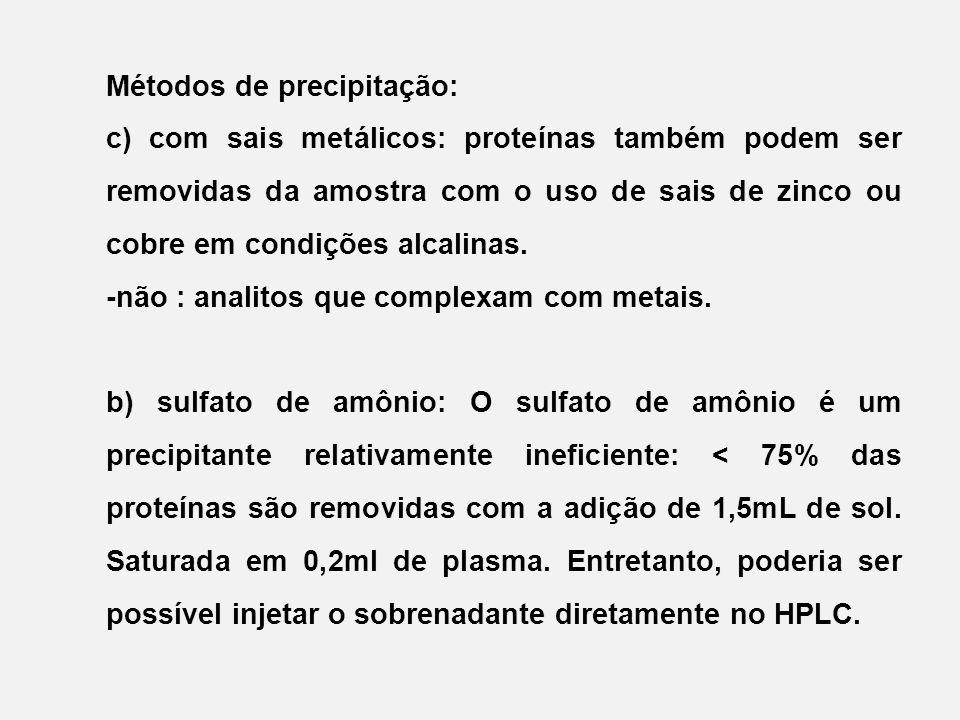 Métodos de precipitação: c) com sais metálicos: proteínas também podem ser removidas da amostra com o uso de sais de zinco ou cobre em condições alcalinas.