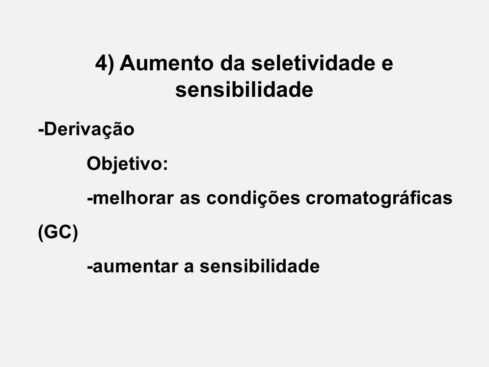 4) Aumento da seletividade e sensibilidade -Derivação Objetivo: -melhorar as condições cromatográficas (GC) -aumentar a sensibilidade
