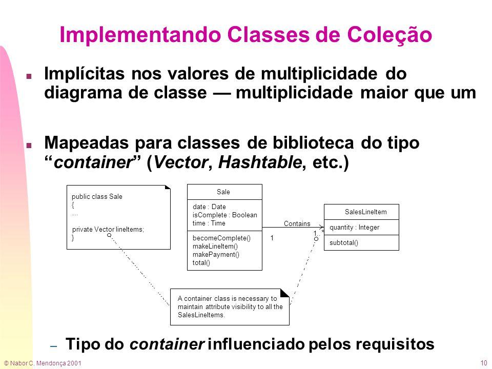 © Nabor C. Mendonça 2001 10 Implementando Classes de Coleção n Implícitas nos valores de multiplicidade do diagrama de classe multiplicidade maior que
