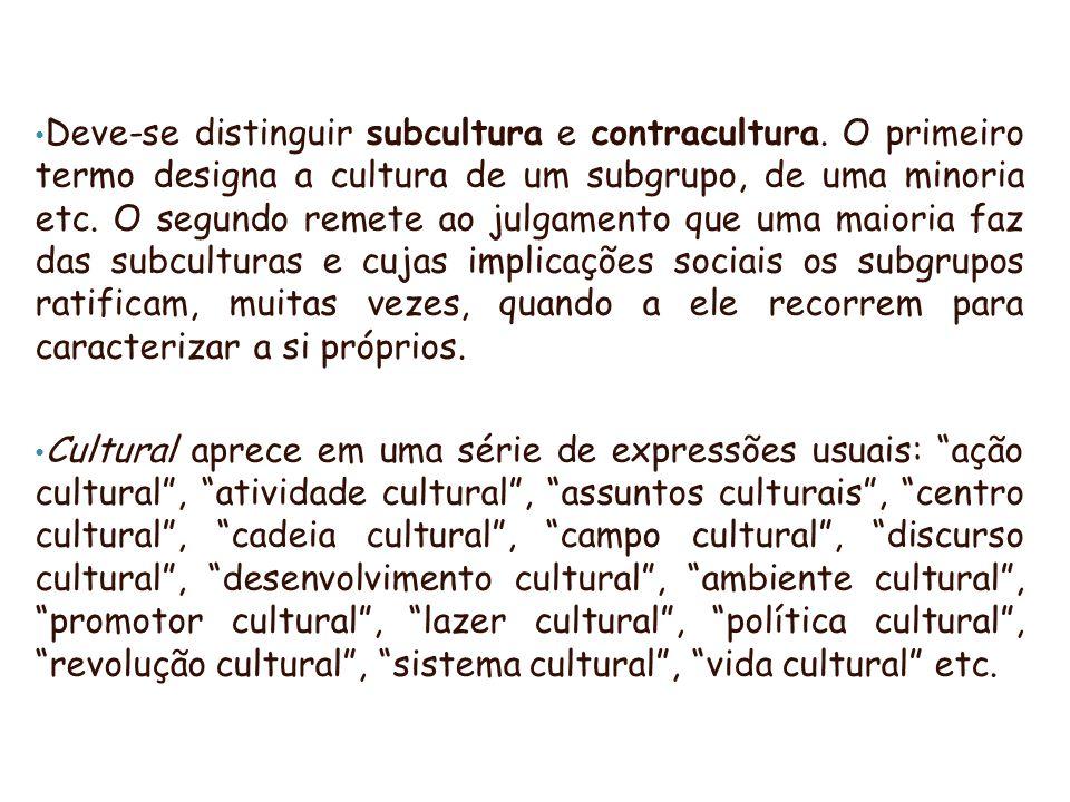 Deve-se distinguir subcultura e contracultura. O primeiro termo designa a cultura de um subgrupo, de uma minoria etc. O segundo remete ao julgamento q