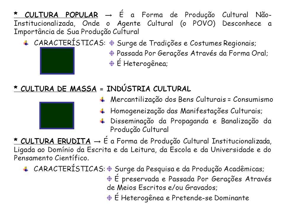 * CULTURA POPULAR É a Forma de Produção Cultural Não- Institucionalizada, Onde o Agente Cultural (o POVO) Desconhece a Importância de Sua Produção Cul