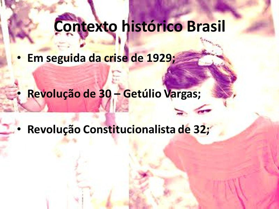 Contexto histórico Brasil Em seguida da crise de 1929; Revolução de 30 – Getúlio Vargas; Revolução Constitucionalista de 32;