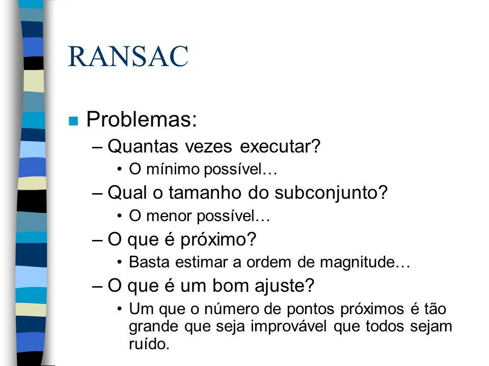 RANSAC n Problemas: –Quantas vezes executar. O mínimo possível… –Qual o tamanho do subconjunto.
