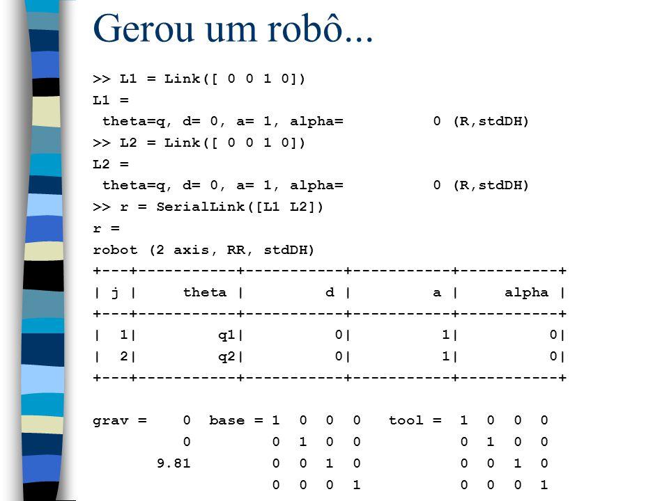 Gerou um robô... >> L1 = Link([ 0 0 1 0]) L1 = theta=q, d= 0, a= 1, alpha= 0 (R,stdDH) >> L2 = Link([ 0 0 1 0]) L2 = theta=q, d= 0, a= 1, alpha= 0 (R,