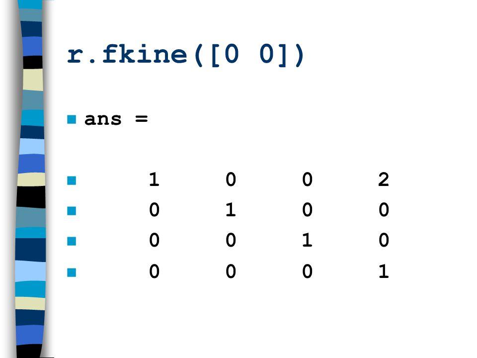 r.fkine([0 0]) n ans = n 1 0 0 2 n 0 1 0 0 n 0 0 1 0 0 0 0 1