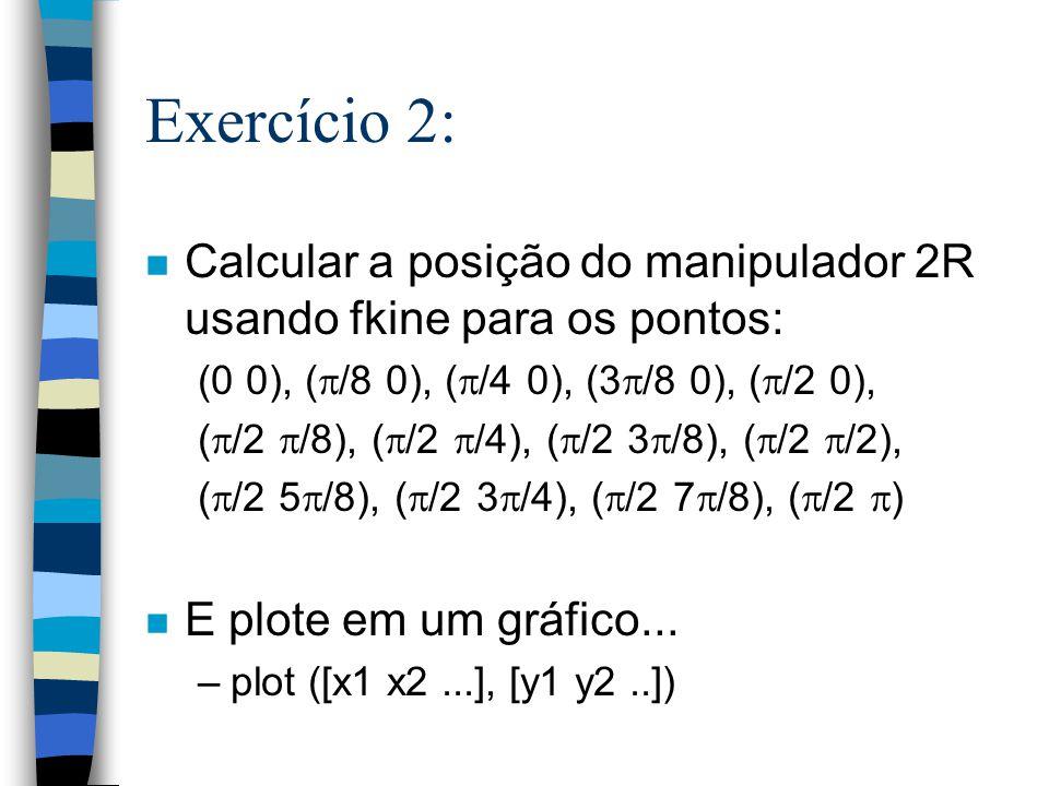 Exercício 2: n Calcular a posição do manipulador 2R usando fkine para os pontos: (0 0), ( /8 0), ( /4 0), (3 /8 0), ( /2 0), ( /2 /8), ( /2 /4), ( /2