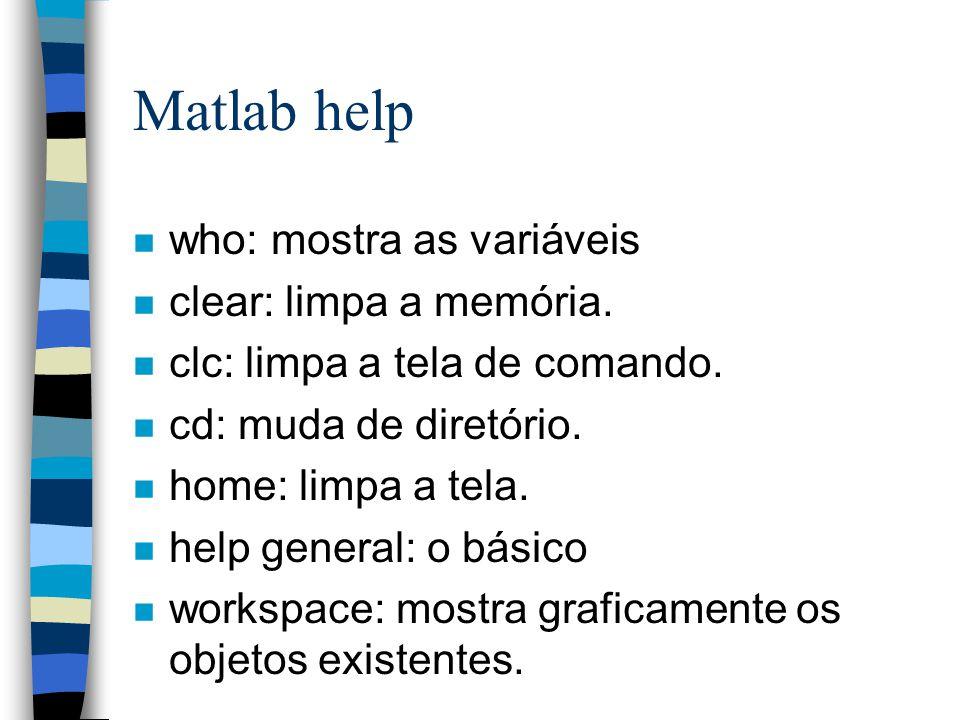 Matlab help n who: mostra as variáveis n clear: limpa a memória. n clc: limpa a tela de comando. n cd: muda de diretório. n home: limpa a tela. n help