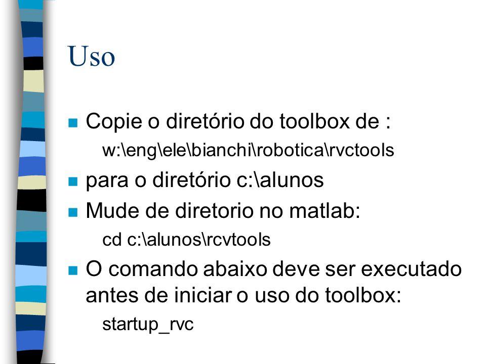 Uso n Copie o diretório do toolbox de : w:\eng\ele\bianchi\robotica\rvctools n para o diretório c:\alunos n Mude de diretorio no matlab: cd c:\alunos\