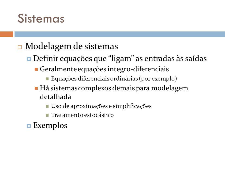 Sistemas Modelagem de sistemas Definir equações que ligam as entradas às saídas Geralmente equações integro-diferenciais Equações diferenciais ordinár