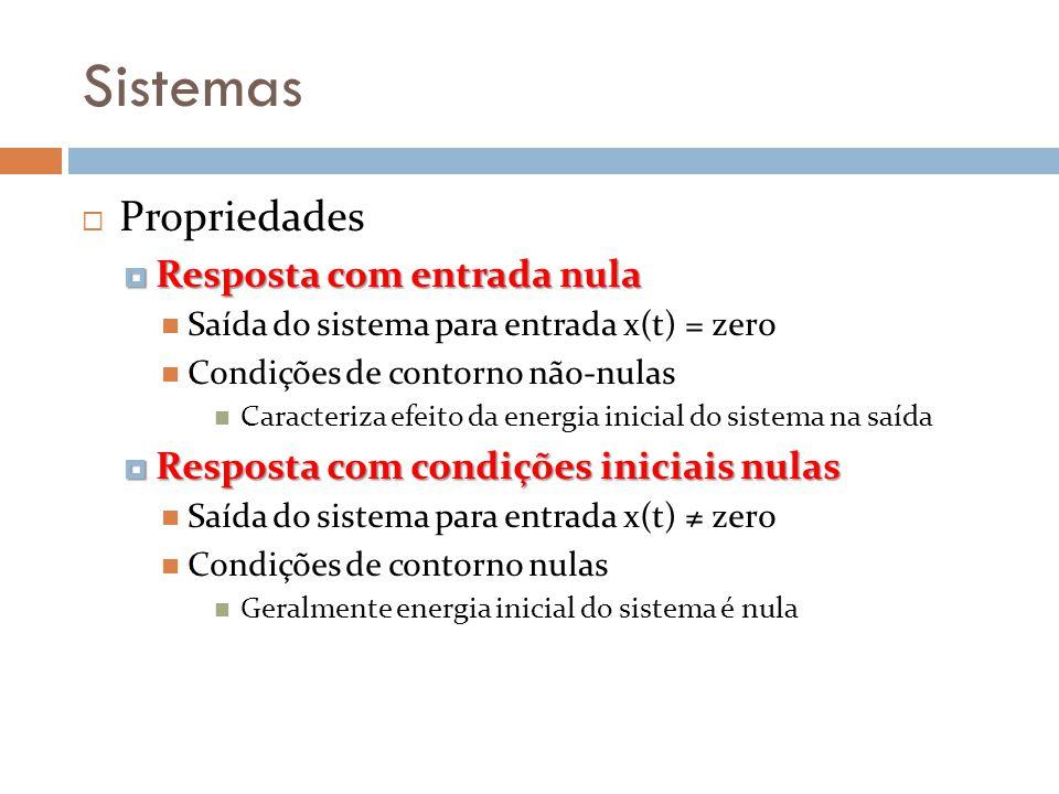 Sistemas Propriedades Resposta com entrada nula Resposta com entrada nula Saída do sistema para entrada x(t) = zero Condições de contorno não-nulas Ca