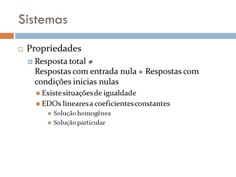 Sistemas Propriedades Resposta total Respostas com entrada nula + Respostas com condições inicias nulas Existe situações de igualdade EDOs lineares a
