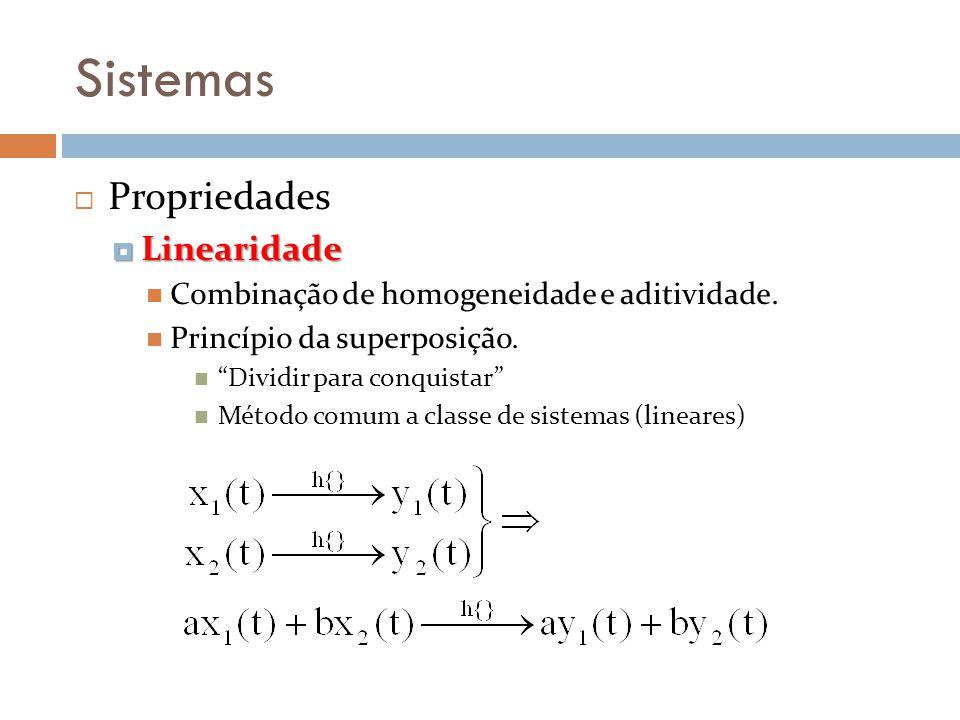 Sistemas Propriedades Linearidade Linearidade Combinação de homogeneidade e aditividade. Princípio da superposição. Dividir para conquistar Método com