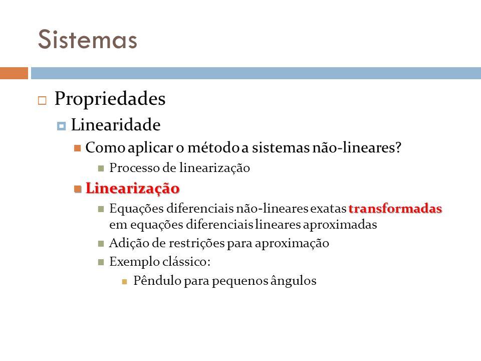 Sistemas Propriedades Linearidade Como aplicar o método a sistemas não-lineares? Processo de linearização Linearização Linearização transformadas Equa