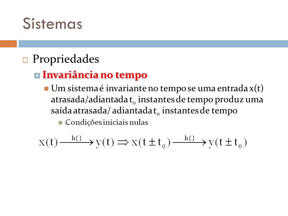 Sistemas Propriedades Invariância no tempo Invariância no tempo Um sistema é invariante no tempo se uma entrada x(t) atrasada/adiantada t 0 instantes