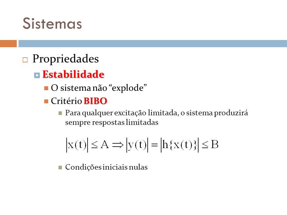Sistemas Propriedades Estabilidade Estabilidade O sistema não explode BIBO Critério BIBO Para qualquer excitação limitada, o sistema produzirá sempre
