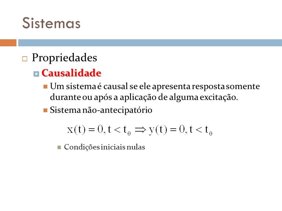 Sistemas Propriedades Causalidade Causalidade Um sistema é causal se ele apresenta resposta somente durante ou após a aplicação de alguma excitação. S