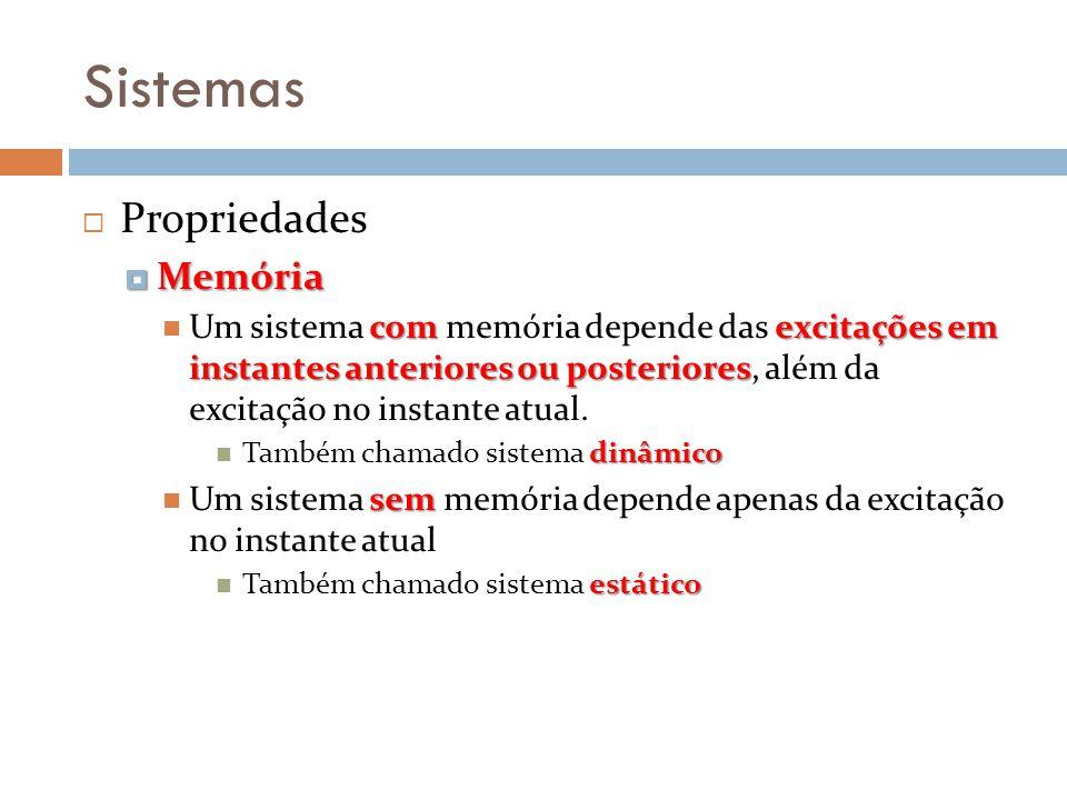 Sistemas Propriedades Memória Memória com excitações em instantes anteriores ou posteriores Um sistema com memória depende das excitações em instantes