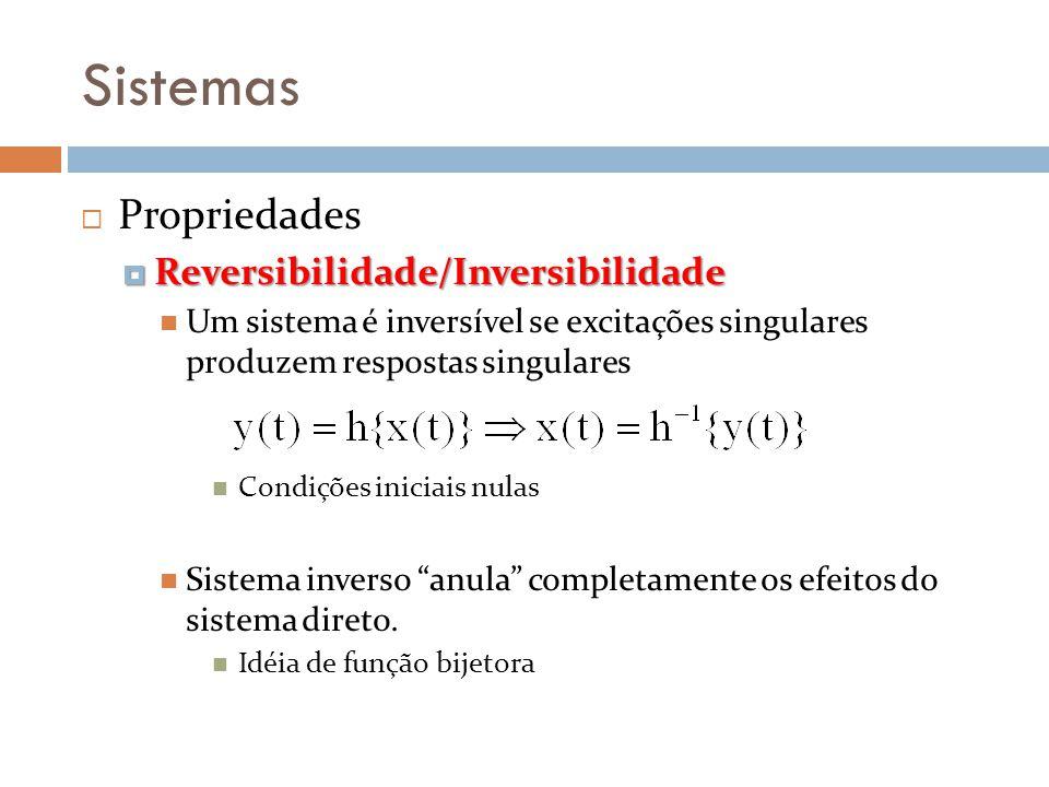 Sistemas Propriedades Reversibilidade/Inversibilidade Reversibilidade/Inversibilidade Um sistema é inversível se excitações singulares produzem respos