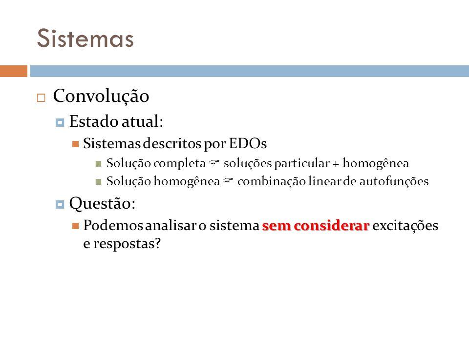 Sistemas Convolução Estado atual: Sistemas descritos por EDOs Solução completa soluções particular + homogênea Solução homogênea combinação linear de