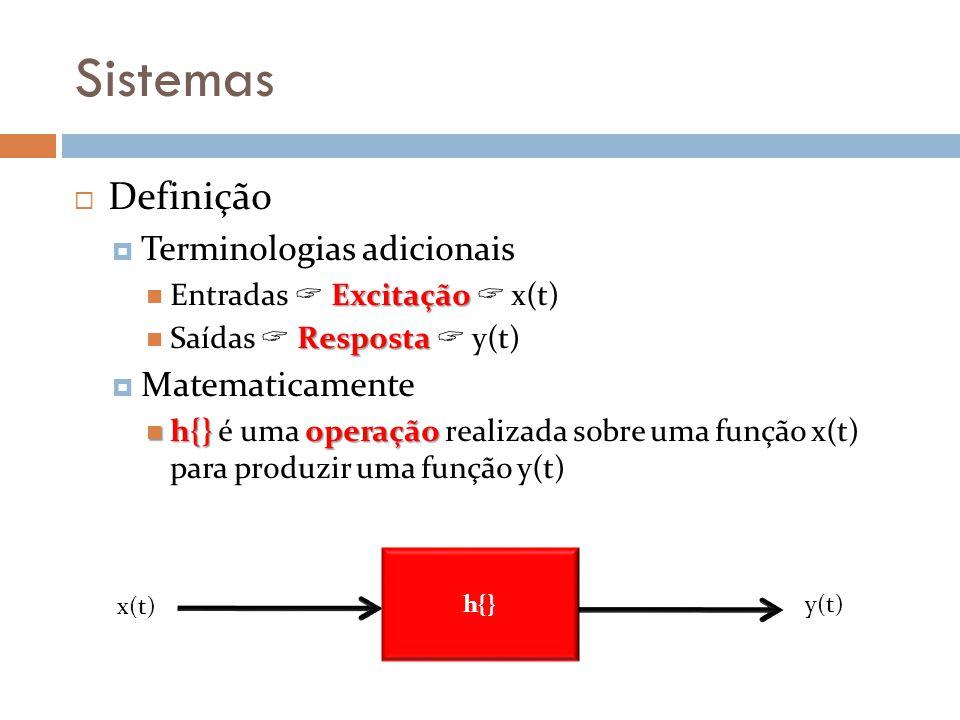 Sistemas Definição Terminologias adicionais Excitação Entradas Excitação x(t) Resposta Saídas Resposta y(t) Matematicamente h{}operação h{} é uma oper