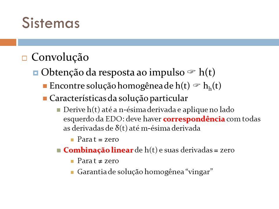 Sistemas Convolução Obtenção da resposta ao impulso h(t) Encontre solução homogênea de h(t) h h (t) Características da solução particular correspondên