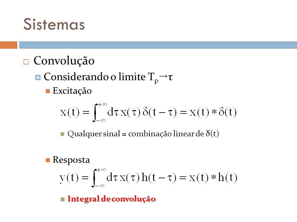 Sistemas Convolução Considerando o limite T p τ Excitação Qualquer sinal = combinação linear de δ(t) Resposta Integral de convolução Integral de convo
