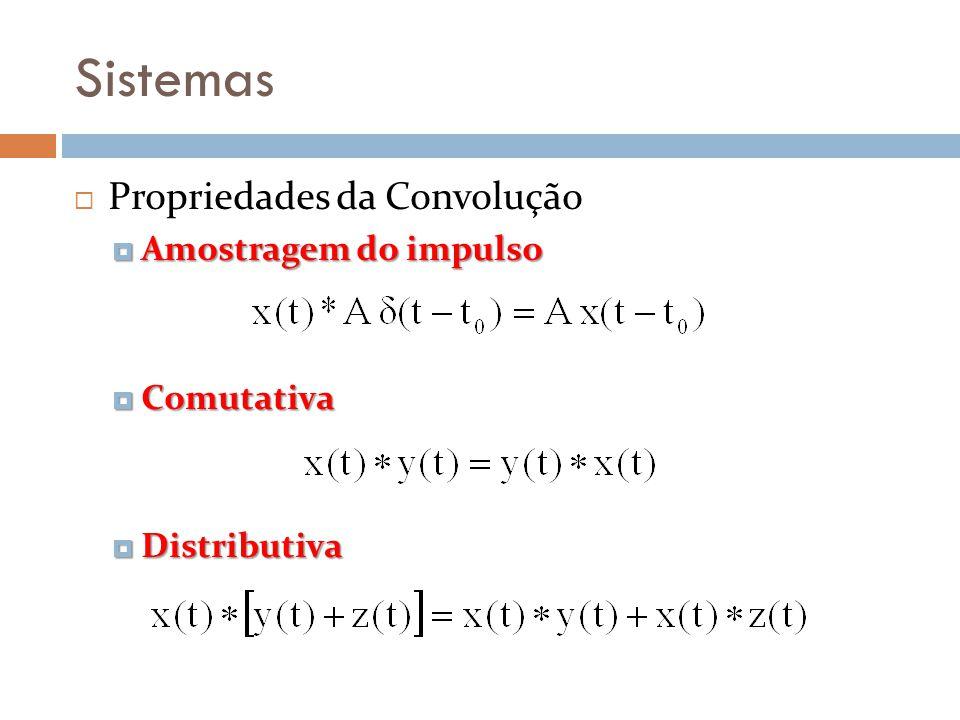 Sistemas Propriedades da Convolução Amostragem do impulso Amostragem do impulso Comutativa Comutativa Distributiva Distributiva