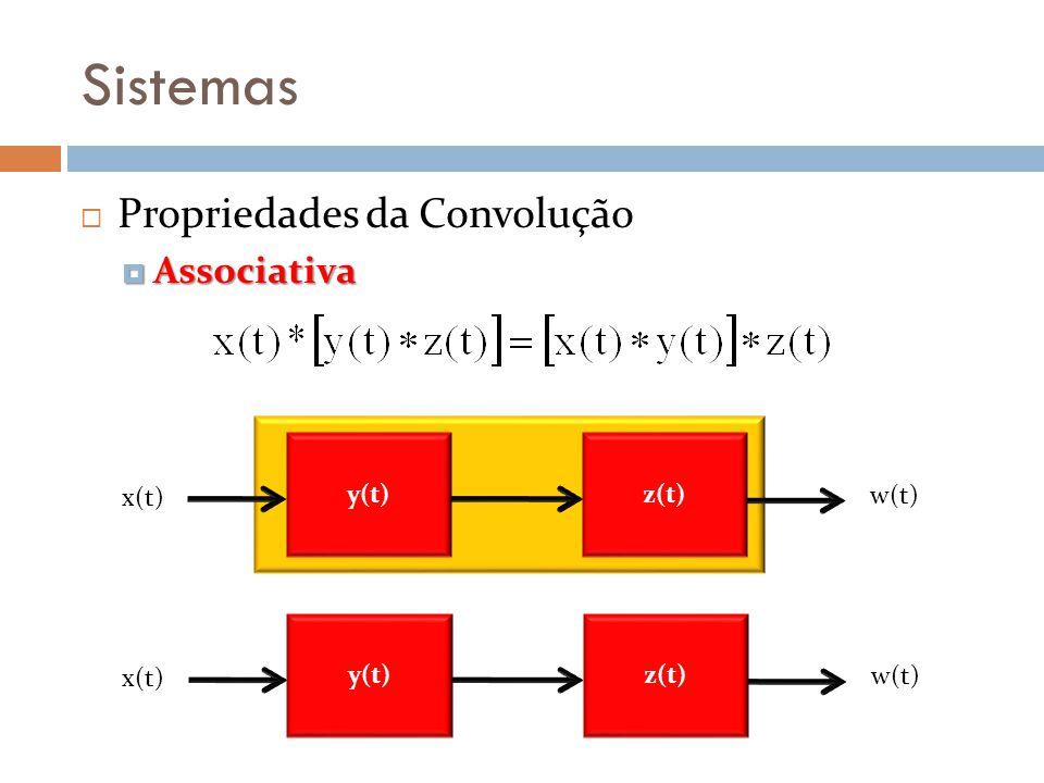 Sistemas Propriedades da Convolução Associativa Associativa y(t) x(t) w(t) z(t) y(t) x(t) w(t) z(t)