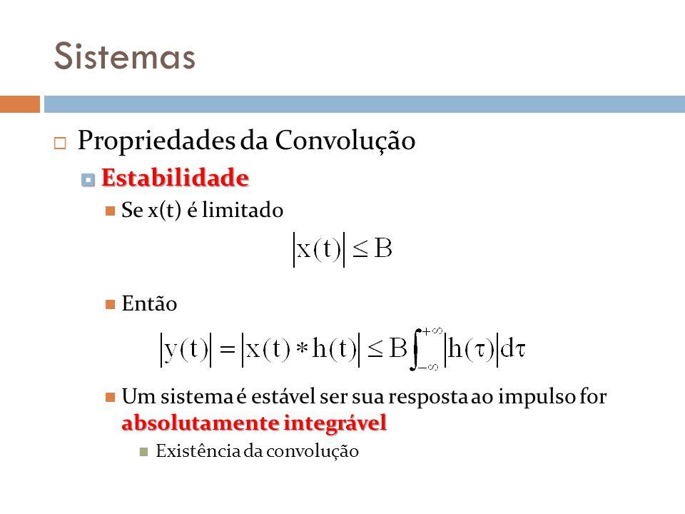 Sistemas Propriedades da Convolução Estabilidade Estabilidade Se x(t) é limitado Então absolutamente integrável Um sistema é estável ser sua resposta