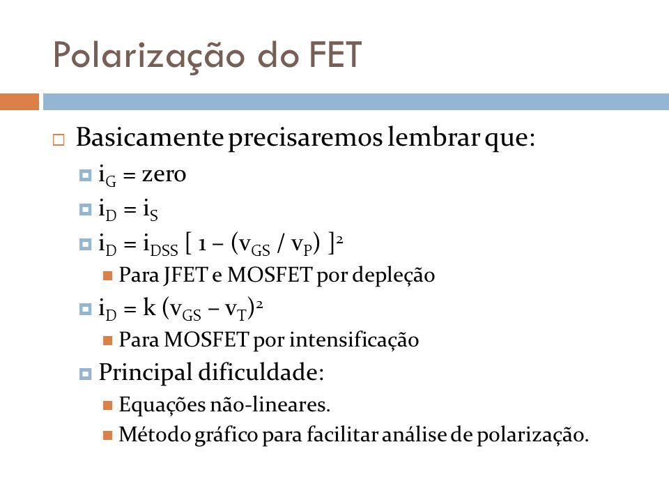 Polarização do FET Basicamente precisaremos lembrar que: i G = zero i D = i S i D = i DSS [ 1 – (v GS / v P ) ] 2 Para JFET e MOSFET por depleção i D