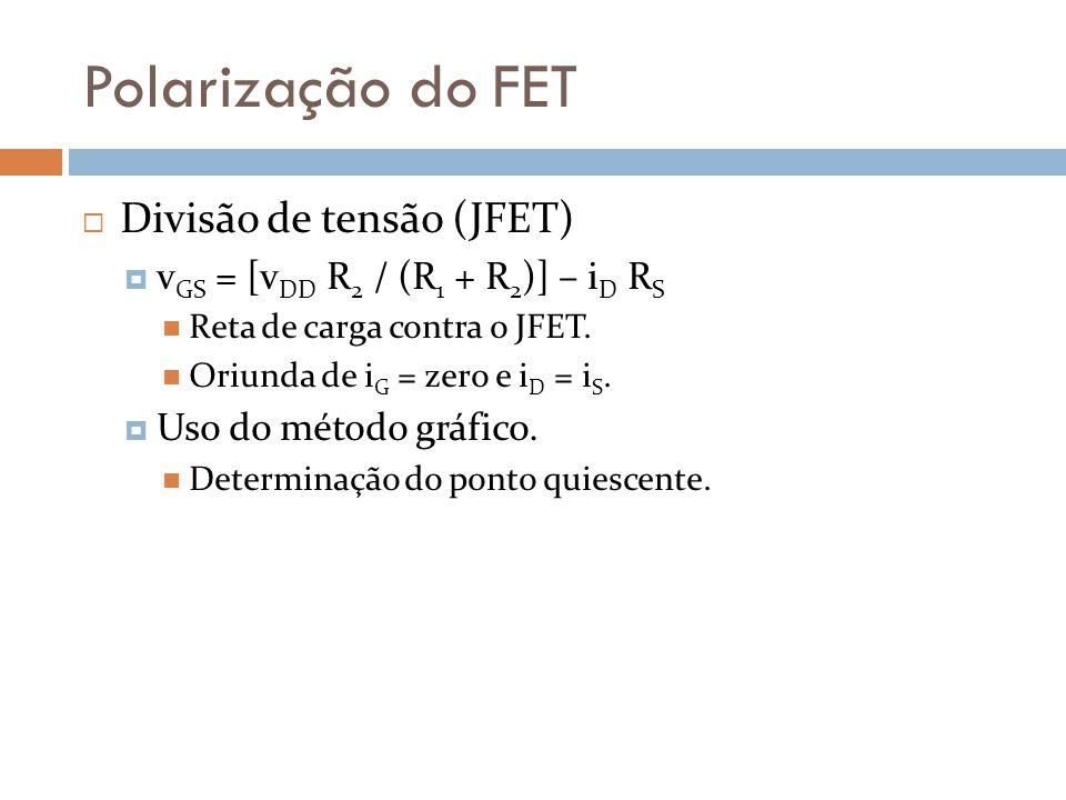 Polarização do FET Divisão de tensão (JFET) v GS = [v DD R 2 / (R 1 + R 2 )] – i D R S Reta de carga contra o JFET. Oriunda de i G = zero e i D = i S.