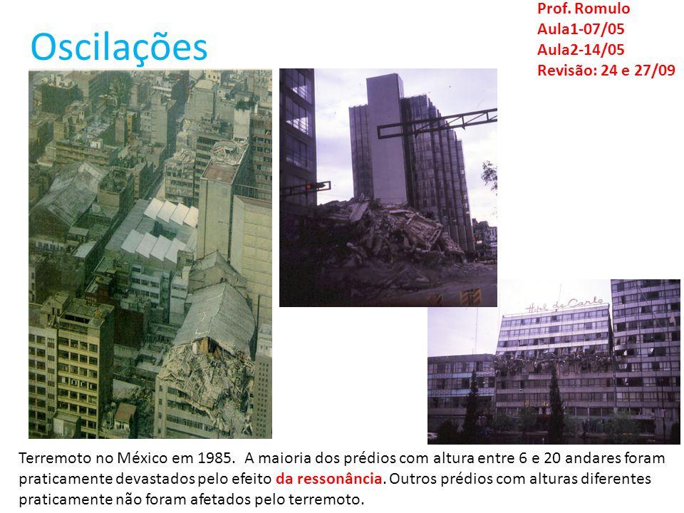 Oscilações Prof. Romulo Aula1-07/05 Aula2-14/05 Revisão: 24 e 27/09 Terremoto no México em 1985. A maioria dos prédios com altura entre 6 e 20 andares