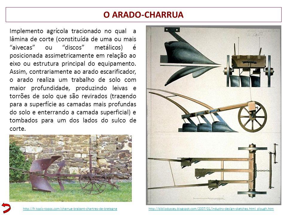 O ARADO-CHARRUA http://bibliodyssey.blogspot.com/2007/01/industry-design-sketches.html plough.htm Implemento agrícola tracionado no qual a lâmina de c