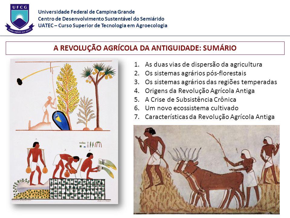 1.As duas vias de dispersão da agricultura 2.Os sistemas agrários pós-florestais 3.Os sistemas agrários das regiões temperadas 4.Origens da Revolução