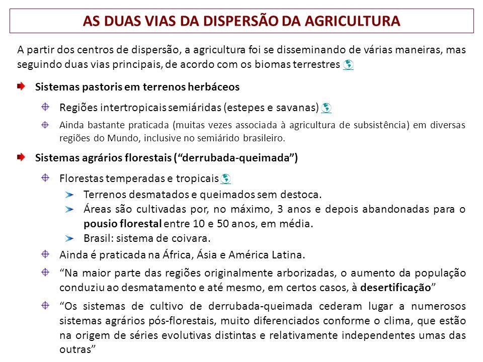 AS DUAS VIAS DA DISPERSÃO DA AGRICULTURA A partir dos centros de dispersão, a agricultura foi se disseminando de várias maneiras, mas seguindo duas vi