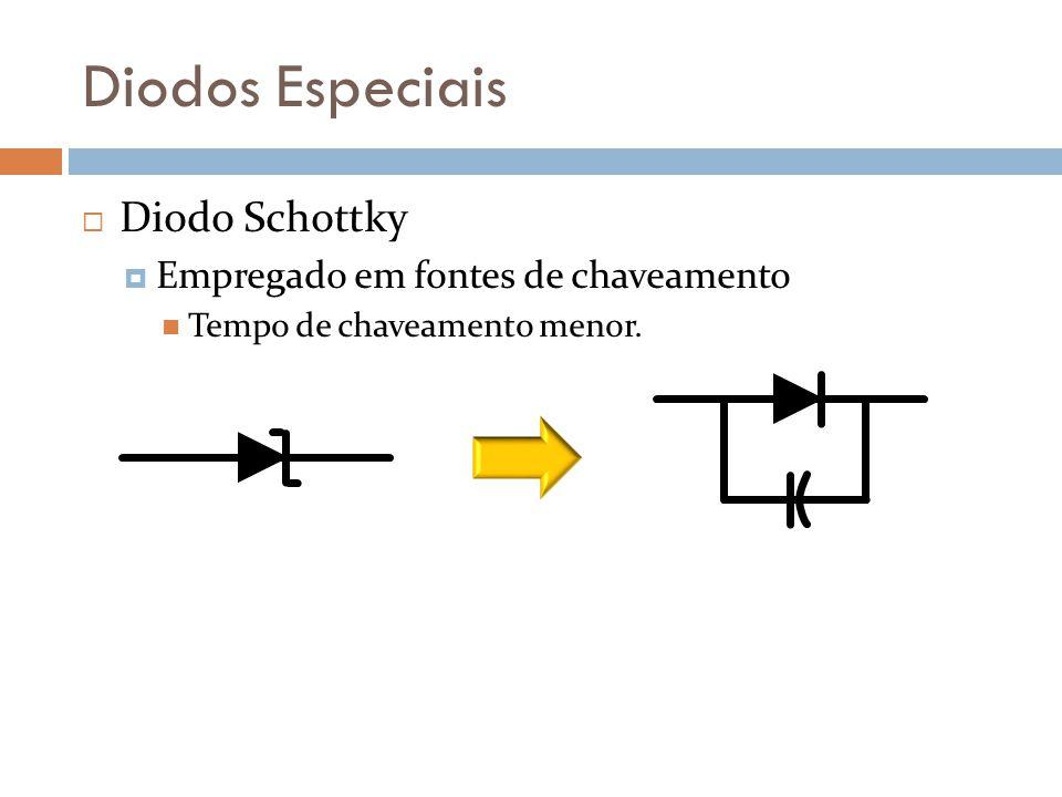 Diodos Especiais Diodo Schottky Empregado em fontes de chaveamento Tempo de chaveamento menor.