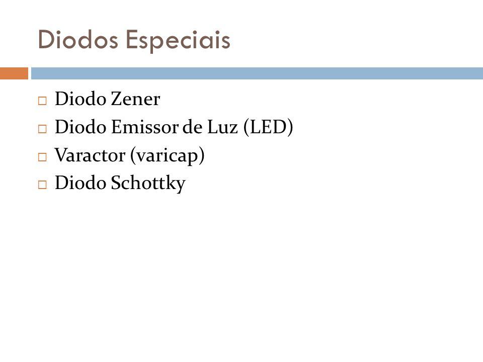 Diodos Especiais Diodo Zener Diodo Emissor de Luz (LED) Varactor (varicap) Diodo Schottky