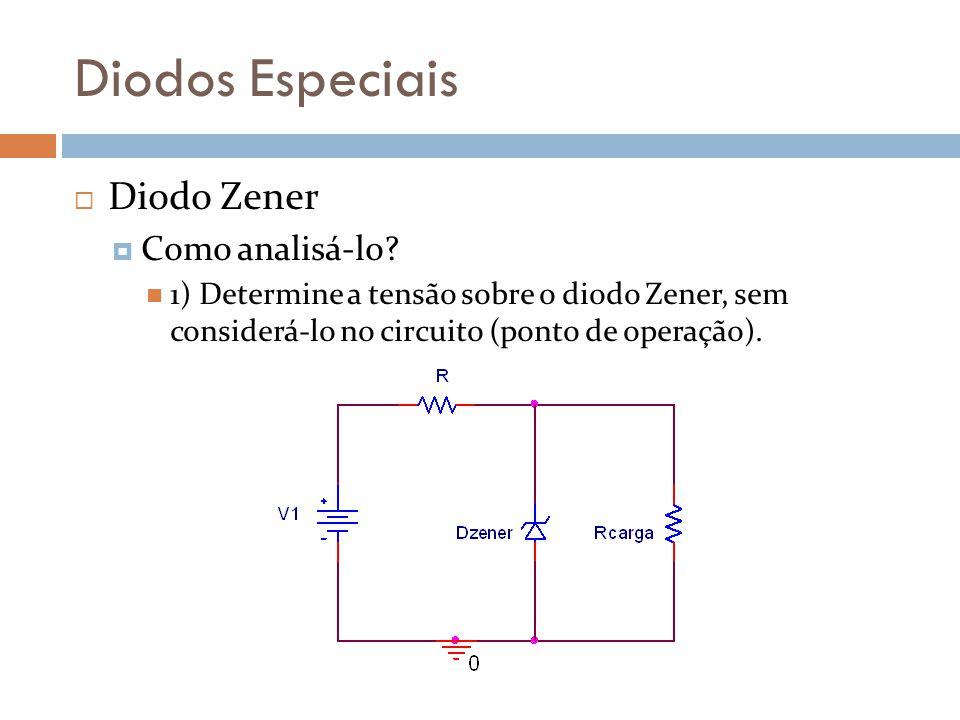 Diodos Especiais Diodo Zener Como analisá-lo.