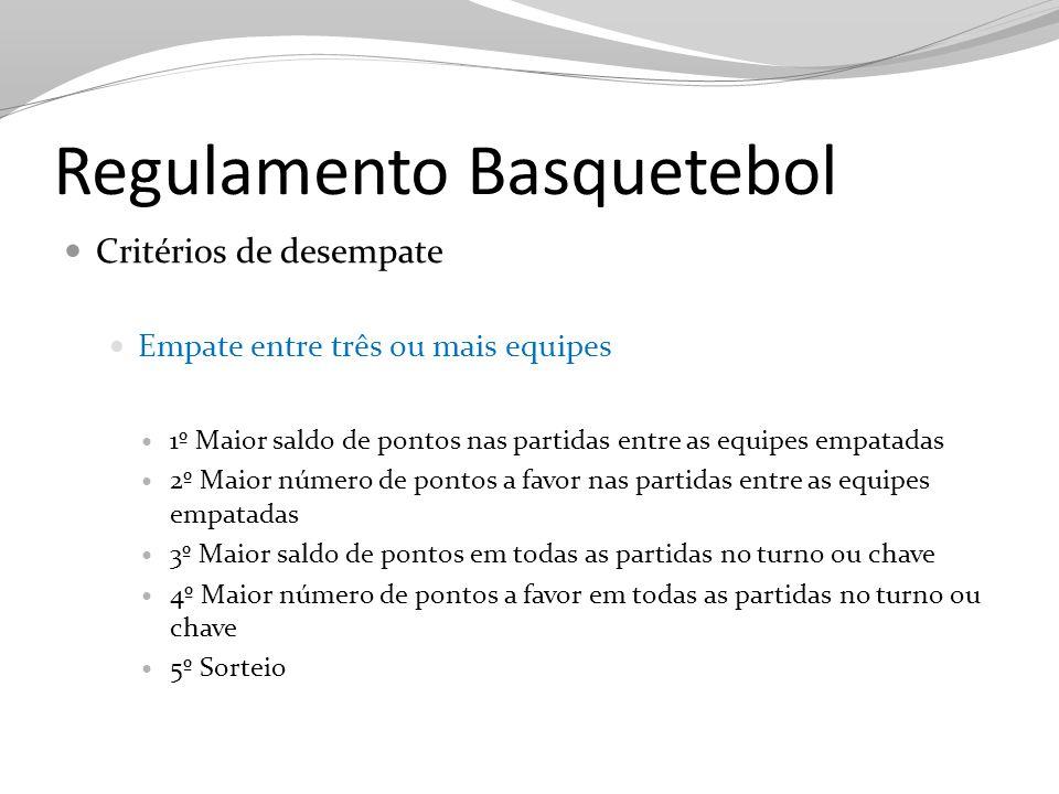 Regulamento Basquetebol Critérios de desempate Empate entre três ou mais equipes 1º Maior saldo de pontos nas partidas entre as equipes empatadas 2º M