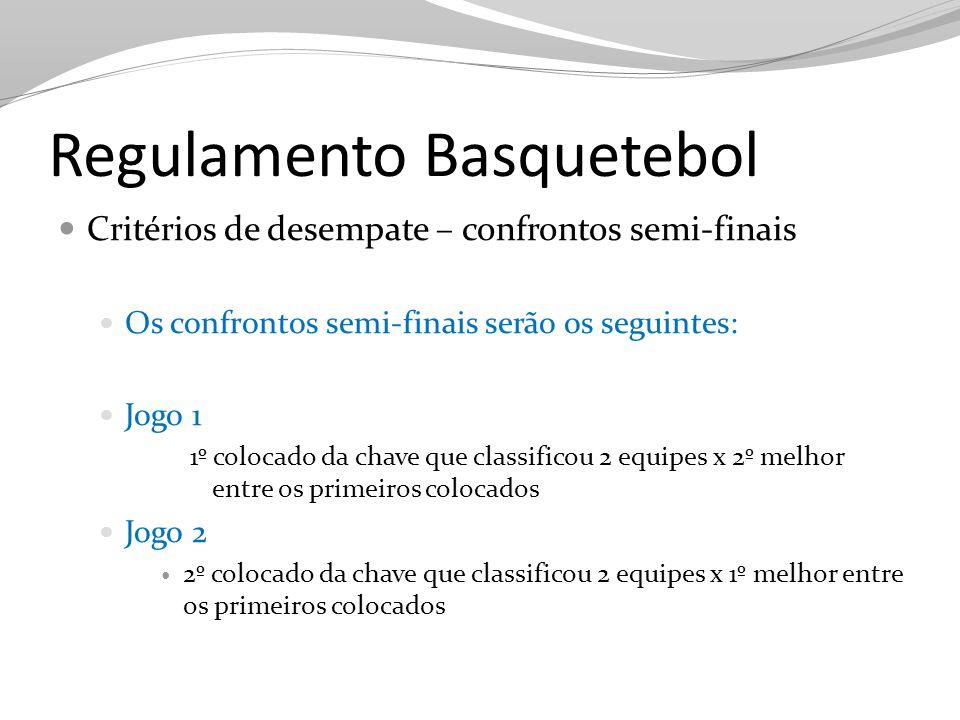 Regulamento Basquetebol Critérios de desempate – confrontos semi-finais Os confrontos semi-finais serão os seguintes: Jogo 1 1º colocado da chave que