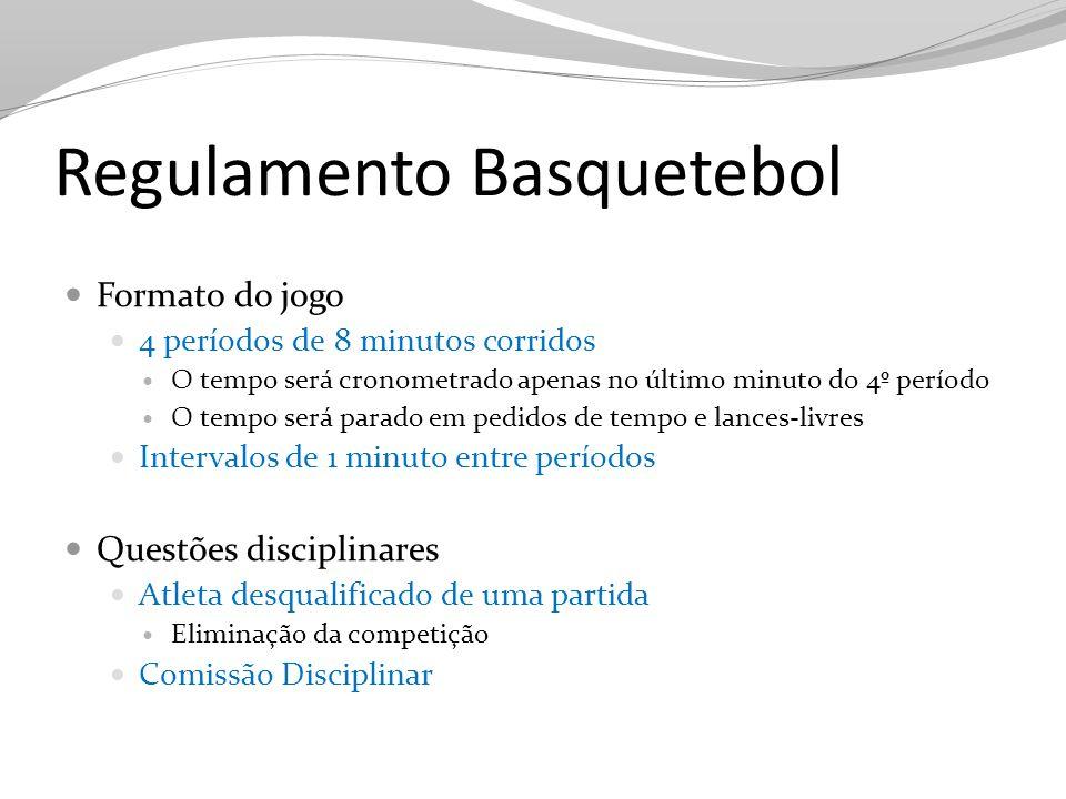 Regulamento Basquetebol Formato do jogo 4 períodos de 8 minutos corridos O tempo será cronometrado apenas no último minuto do 4º período O tempo será