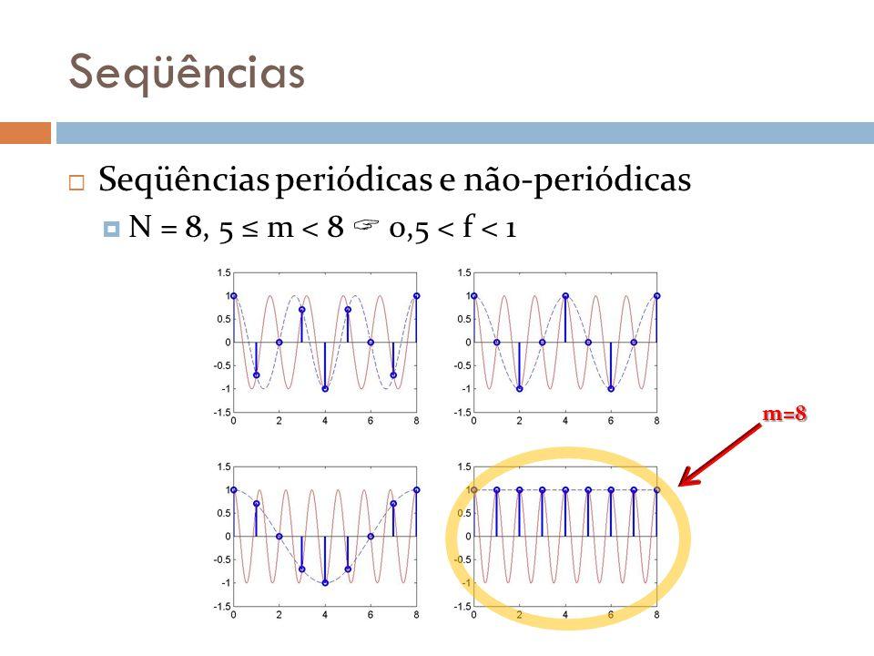 Seqüências Seqüências periódicas e não-periódicas N = 8, 5 m < 8 0,5 < f < 1 m=8