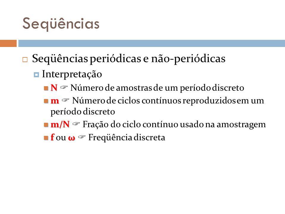 Seqüências Seqüências periódicas e não-periódicas Interpretação N N Número de amostras de um período discreto m m Número de ciclos contínuos reproduzi