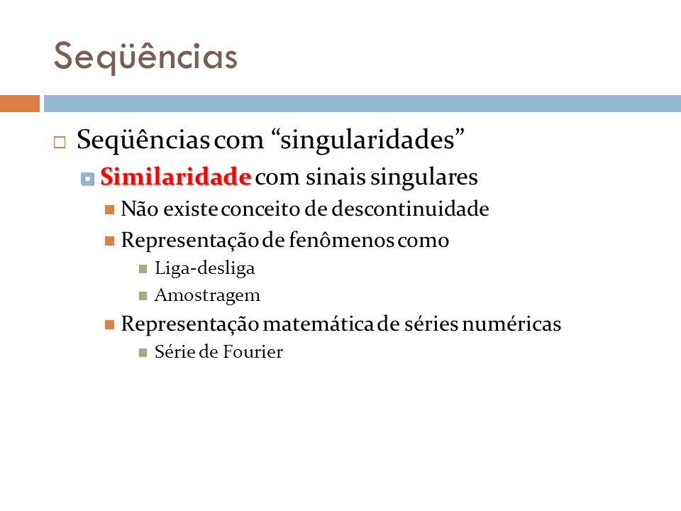 Seqüências Seqüências com singularidades Similaridade Similaridade com sinais singulares Não existe conceito de descontinuidade Representação de fenôm