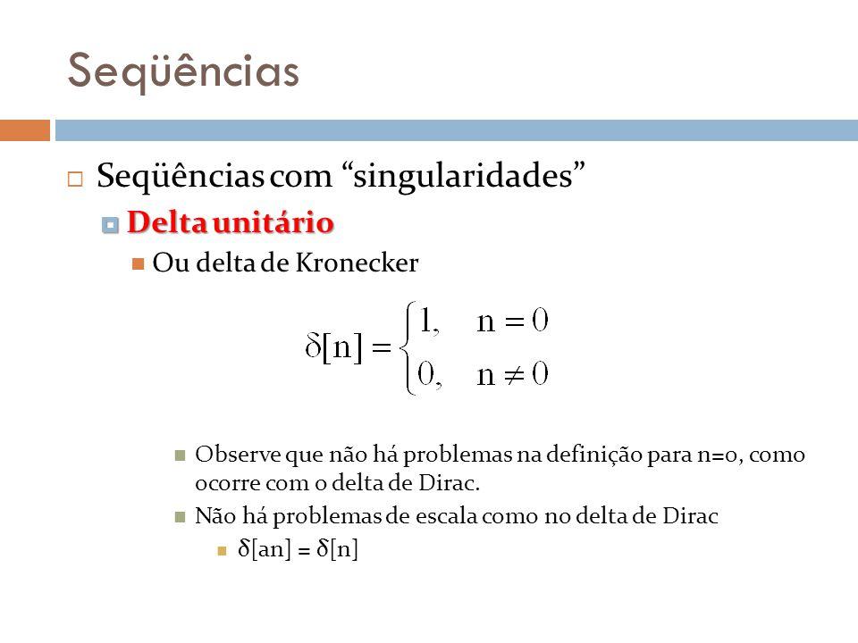 Seqüências Seqüências com singularidades Delta unitário Delta unitário Ou delta de Kronecker Observe que não há problemas na definição para n=0, como