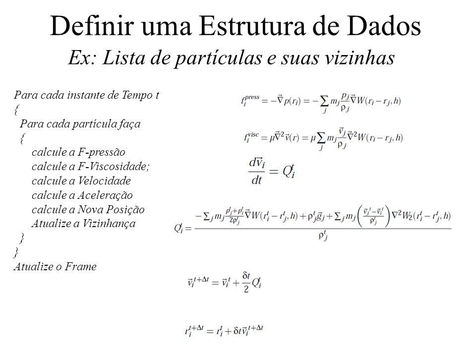 Definir uma Estrutura de Dados Ex: Lista de partículas e suas vizinhas Para cada instante de Tempo t { Para cada partícula faça { calcule a F-pressão