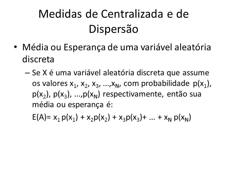 Medidas de Centralizada e de Dispersão Média ou Esperança de uma variável aleatória discreta – Se X é uma variável aleatória discreta que assume os va